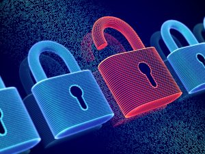 Data Security And Privacy Concept: Opened Padlock On Digital Scr